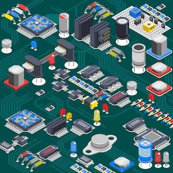 Composición de la placa de circuito isométrica