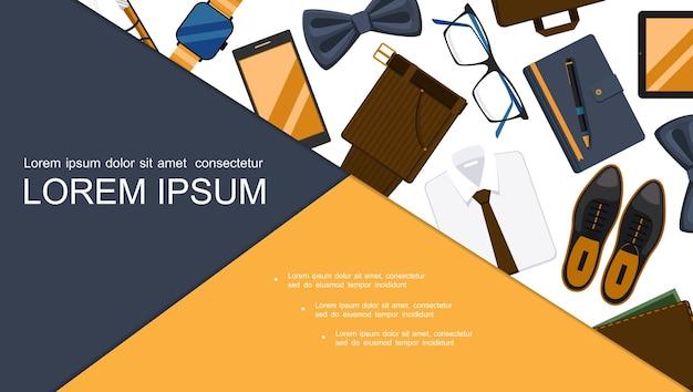 Composición plana de accesorios de empresario con relojes de pulsera, teléfono, ropa, bloc de notas, bolígrafo, billetera, lentes, maletín, pajarita, diapositiva,