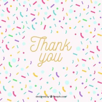 Composición plana de agradecimiento con confeti