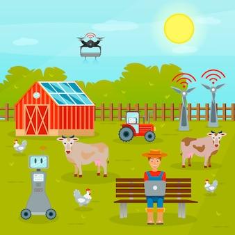 Composición plana de agricultura inteligente