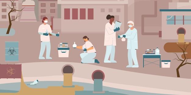Composición plana del biólogo de protección del medio ambiente con un grupo de científicos que realizan pruebas