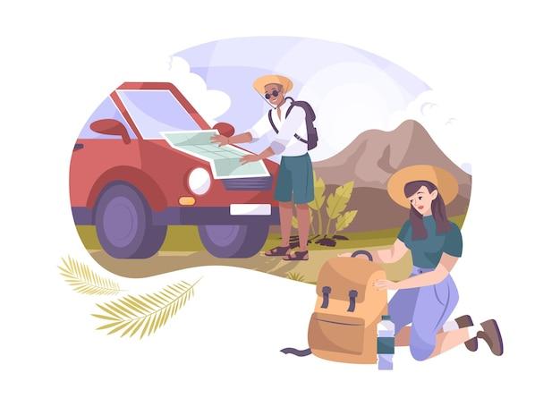 Composición plana de camping con dos excursionistas.