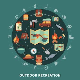 Composición plana de camping