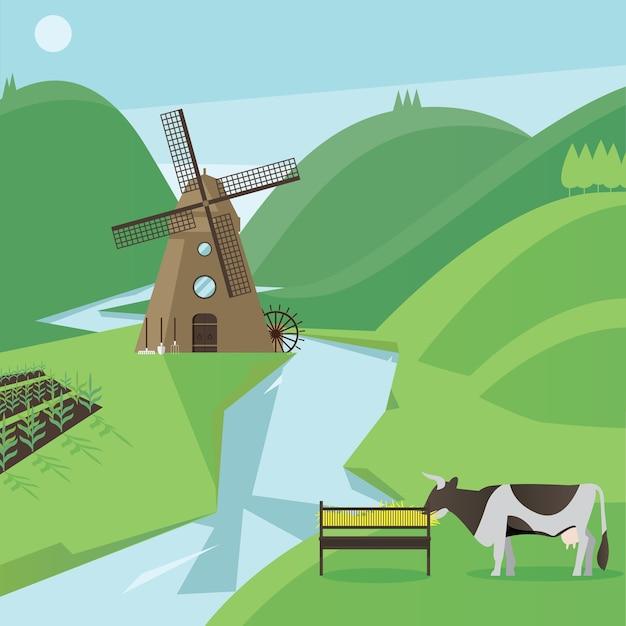 Composición plana de campo con vaca y molino de viento.
