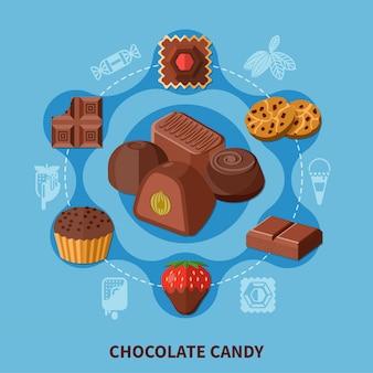Composición plana de caramelos de chocolate