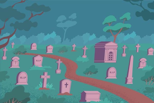 Composición plana de cementerio con paisaje nocturno al aire libre y tumbas de piedra en el suelo con césped y árboles