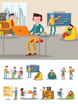 Composición plana del centro de coworking