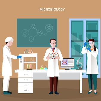 Composición plana de científicos personas