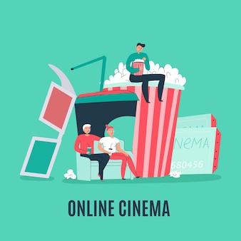 Composición plana de cine con entradas para palomitas de maíz, gafas 3d y gente viendo películas en línea