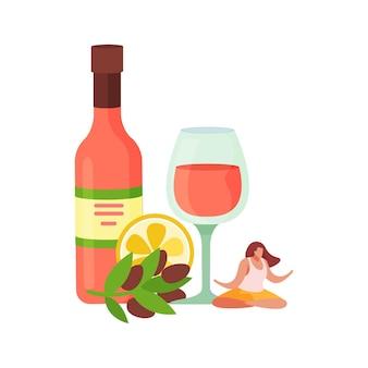 Composición plana de cócteles de bebidas alcohólicas con aceitunas y botella con vaso y mujer en pose zen