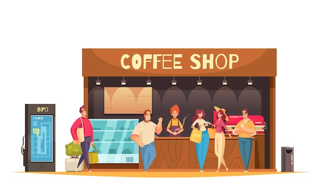 Composición plana y coloreada de compras con cafetería y clientes caminando