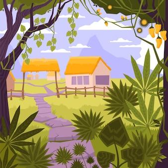 Composición plana y coloreada del paisaje con la casa en la aldea en la ilustración del bosque