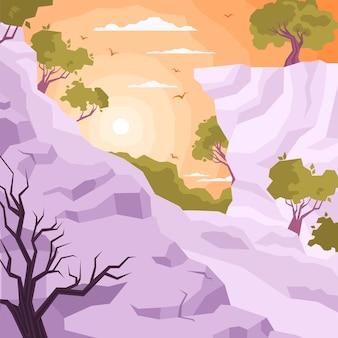 Composición plana coloreada del paisaje con puesta de sol o amanecer en la jungla entre la ilustración de los picos de las montañas