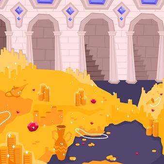 Composición plana y coloreada del paisaje con la sala del tesoro con ilustración de oro y joyas