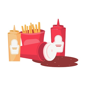 Composición plana de comida chatarra con papas fritas botella de mostaza salsa de tomate y coca cola derramada
