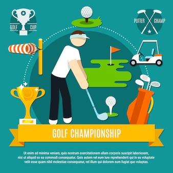 Composición plana de competición de golf