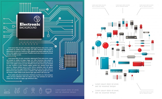 Composición plana de componentes electrónicos con microchips de placa de circuito eléctrico, condensadores y transistores de diodos