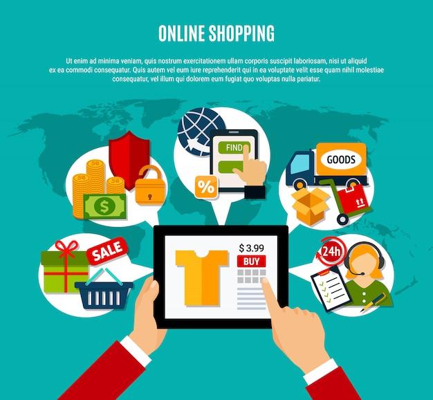 Composición plana de compras en internet