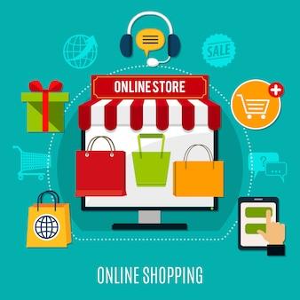 Composición plana de compras en línea