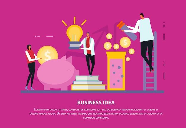 Composición plana de concepto de negocio independiente con texto editable y personajes humanos con iconos y siluetas
