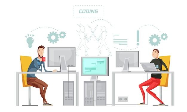 Composición plana del desarrollo del juego a color con el proceso de codificación del trabajo en la ilustración de vector de oficina