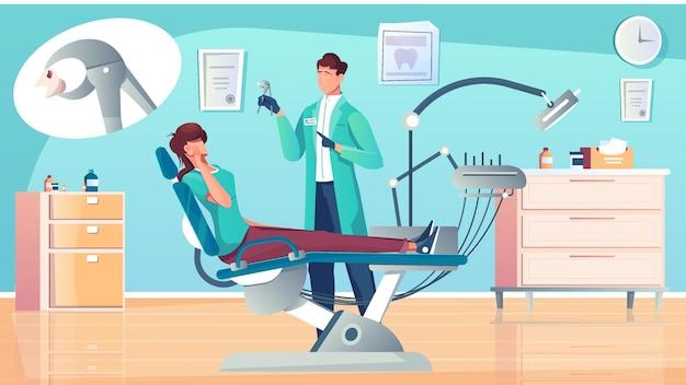 Composición plana del diente de extracción con el dentista en el consultorio y el paciente en el sillón dental con ilustración de burbuja de pensamiento