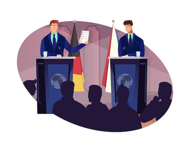 Composición plana de diplomacia con dos representantes hablando en la conferencia.