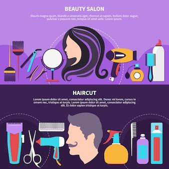 Composición plana de dos peluqueros con titulares de salón de belleza y peluquería y lugar para la ilustración de vector de texto