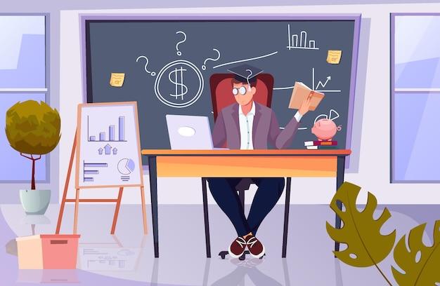 Composición plana de educación financiera con vista del lugar de trabajo de los analistas financieros con gráficos de barras dibujados