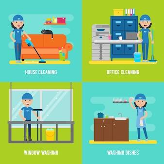 Composición plana de la empresa de limpieza