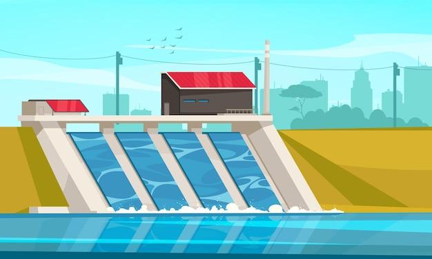 Composición plana de energía hidroeléctrica sostenible ecológica con presa hidroeléctrica suburbana que utiliza la ilustración del sistema ambiental de agua de río