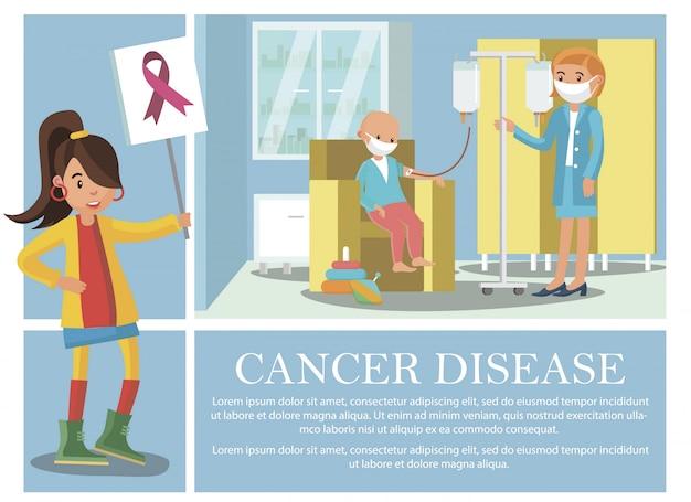 Composición plana de la enfermedad del cáncer con un niño que recibe tratamiento médico para una enfermedad oncológica y una mujer joven con cartel con cinta rosa