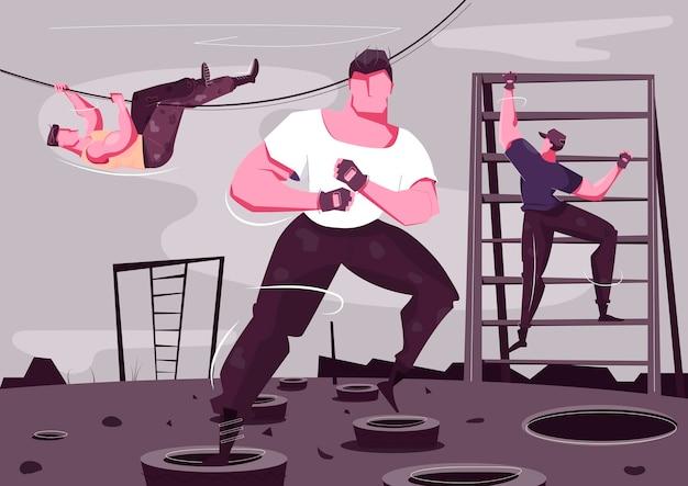 Composición plana de entrenamiento militar con brutales personajes masculinos deportivos escalando y luchando al aire libre