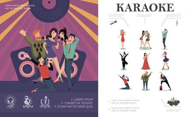 Composición plana de entretenimiento musical con cantantes de pop rock country y gente feliz cantando en el escenario del club de karaoke