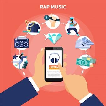 Composición plana de escucha de música rap