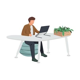 Composición plana del espacio de trabajo contemporáneo con un hombre sentado en una mesa futurista con una silla de diseño y una ilustración de la planta casera