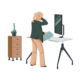 Composición plana del espacio de trabajo contemporáneo con vista del gabinete de la mesa de la computadora con la ilustración de la planta y la mujer en el hogar