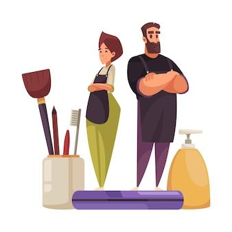 Composición plana con estilistas masculinos y femeninos, cosméticos y herramientas de belleza.