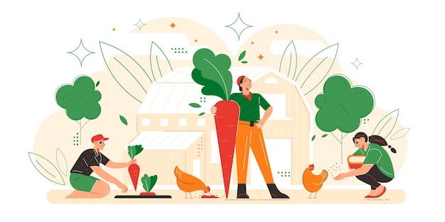 Composición plana de la familia del granjero con padre cosechador sosteniendo una enorme zanahoria madre alimentando polluelos hija granja ilustración