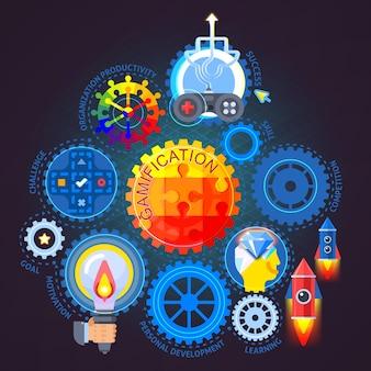 Composición plana de gamificación sobre fondo oscuro con mecanismo de engranajes coloridos, joystick, cohetes, ilustración vectorial