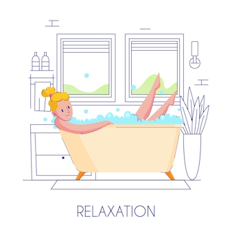 Composición plana de higiene de mujer con joven rubia relajante en baño elegante contorno esbozado