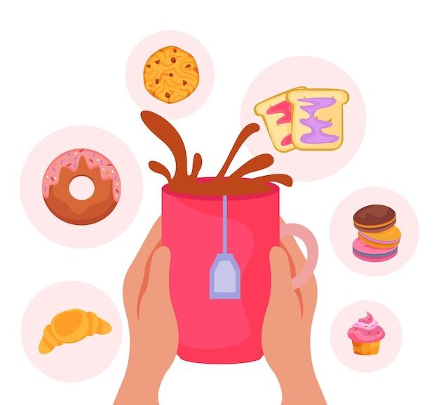 Composición plana de la hora del té con manos humanas sosteniendo una taza de té e iconos redondos de ilustración de bocadillos dulces para el almuerzo