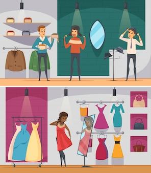 La composición plana horizontal de la gente de la tienda que intenta dos fijó con el hombre que intentaba el sombrero y la mujer que intentaban un vestido