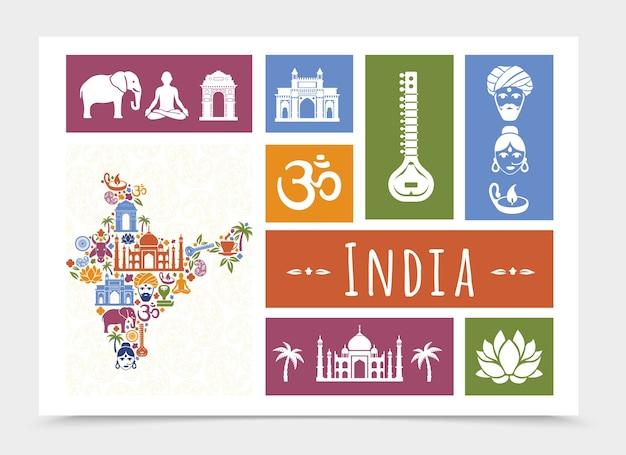 Composición plana india travel