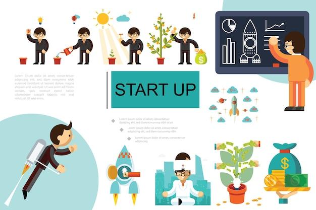 Composición plana de inicio e inversión
