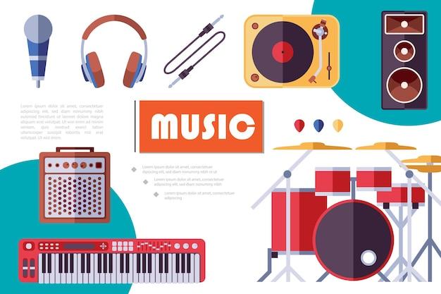 Composición plana de instrumentos musicales con guitarras eléctricas, púas, auriculares, altavoz de audio, kit de batería, micrófono, reproductor de vinilo, subwoofer, sintetizador, ilustración