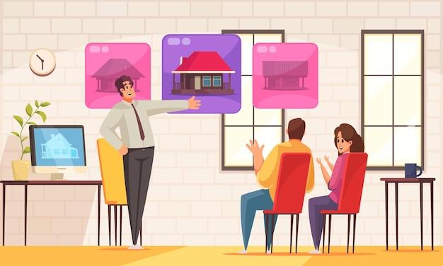 Composición plana interior de la agencia inmobiliaria con el agente inmobiliario que ayuda a los compradores de parejas familiares a elegir la primera casa