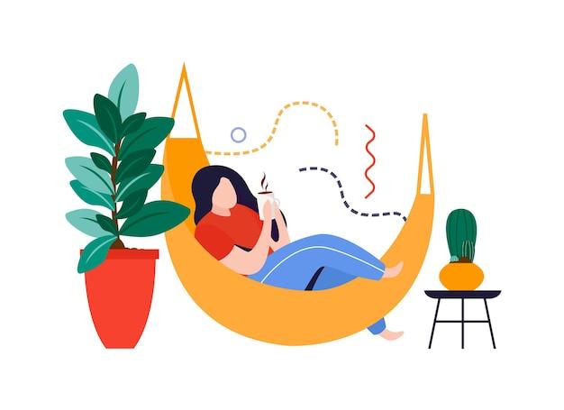 Composición plana de jardín de casa con mujer acostada en hamaca con ilustración de vector de plantas caseras