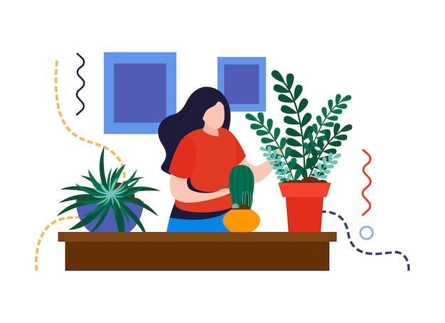 Composición plana de jardín de casa con personaje femenino cuidando plantas en la ilustración de vector de mesa
