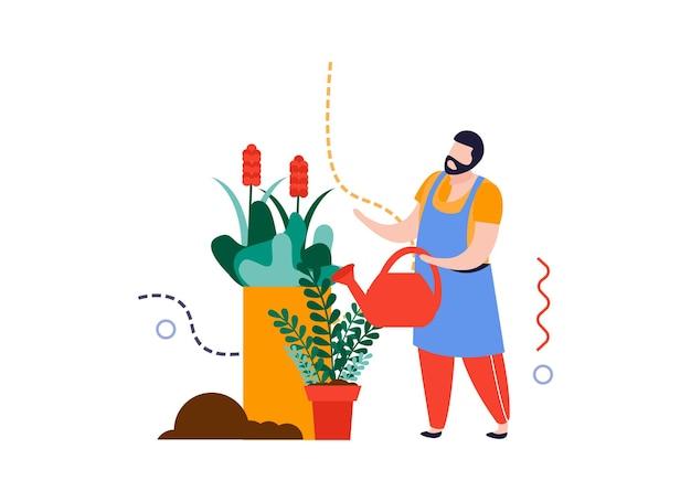 Composición plana de jardín de casa con personaje masculino regando plantas caseras en macetas ilustración vectorial